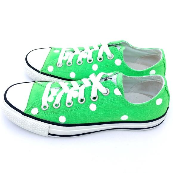 595759facb5f46 Converse Shoes - Converse 7 NEON GREEN Polka Dot Chuck Taylor AS